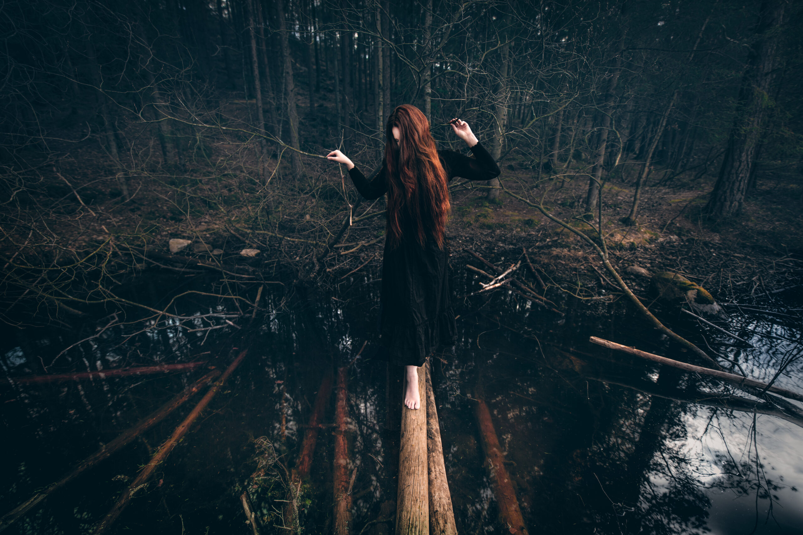 Skog, tjern og grotte